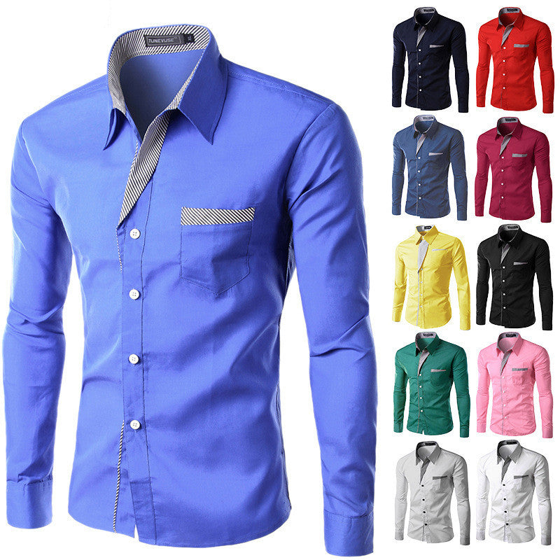 2018 New Fashion Slim Men's Casual Dress Shirt All Colors