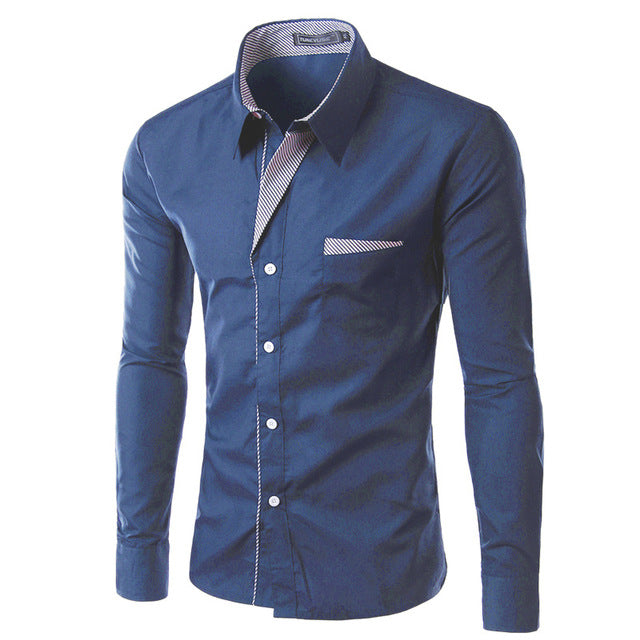 2018 New Fashion Slim Men's Casual Dress Shirt Navy Blue
