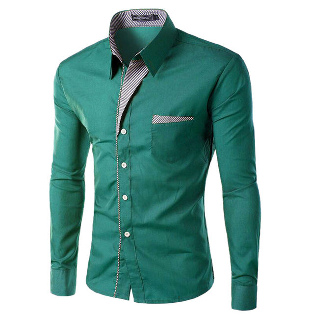 2018 New Fashion Slim Men's Casual Dress Shirt Green