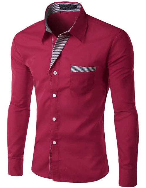 2018 New Fashion Slim Men's Casual Dress Shirt Wine Red