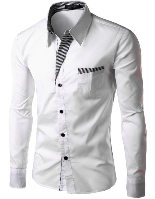 2018 New Fashion Slim Men's Casual Dress Shirt White