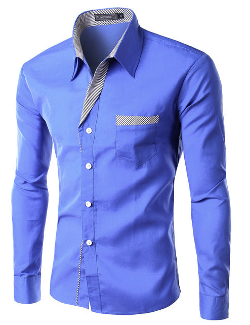 2018 New Fashion Slim Men's Casual Dress Shirt Blue
