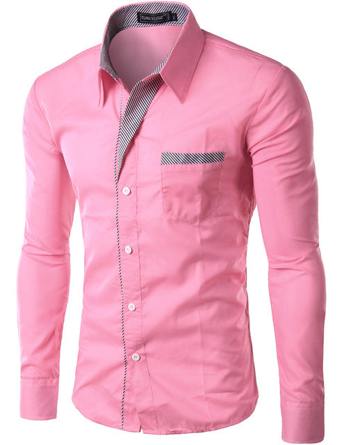 2018 New Fashion Slim Men's Casual Dress Shirt Pink