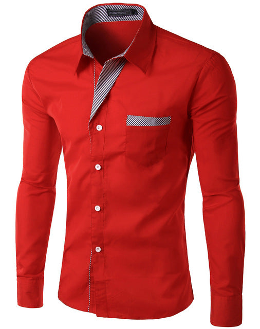 2018 New Fashion Slim Men's Casual Dress Shirt Red