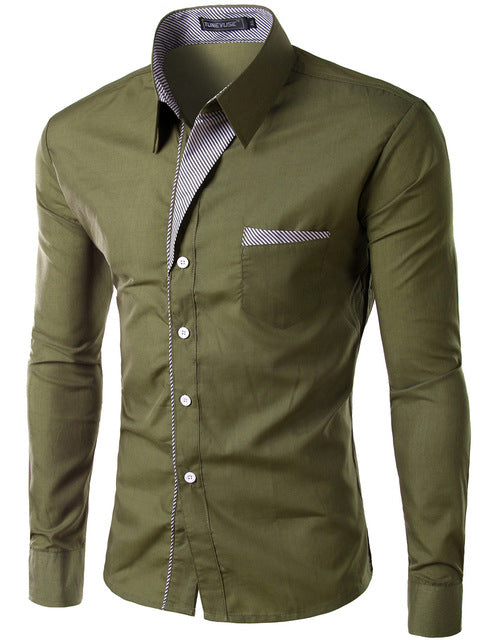 2018 New Fashion Slim Men's Casual Dress Shirt Army Green