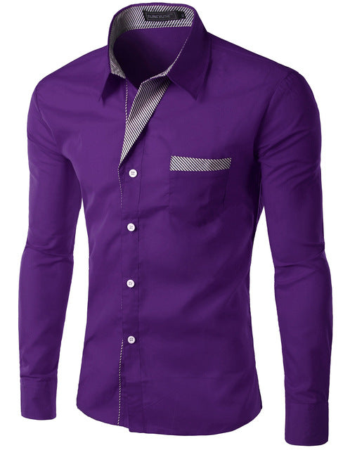 2018 New Fashion Slim Men's Casual Dress Shirt Purple