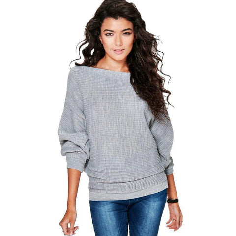 Slash Neck Loose Sweater Gray