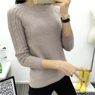 Winter Long Sleeve Knitted Pullovers O-neck Warm Sweater Brown