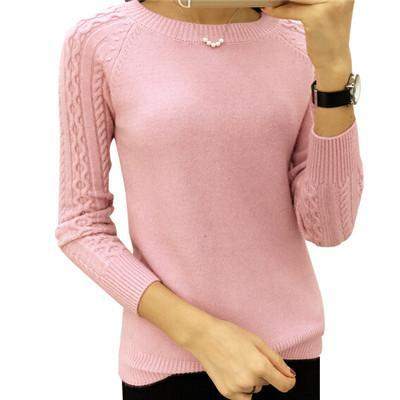 Winter Long Sleeve Knitted Pullovers O-neck Warm Sweater Pink