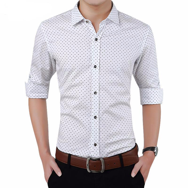 Polka Dot Men's Shirt Slim Fit Long Sleeve Casual Shirt