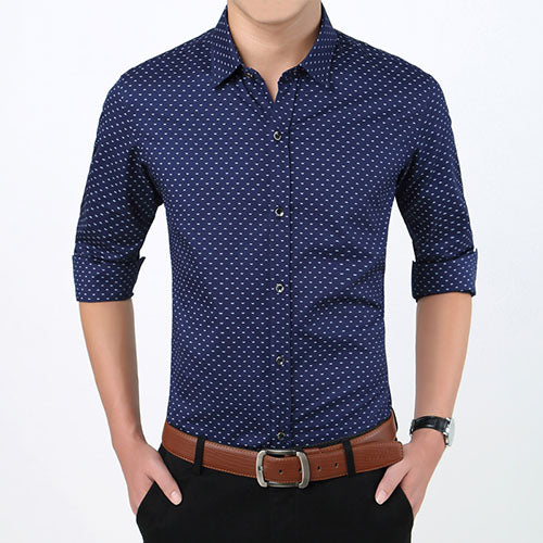 Polka Dot Men's Shirt Slim Fit Long Sleeve Casual Shirt Dark Blue