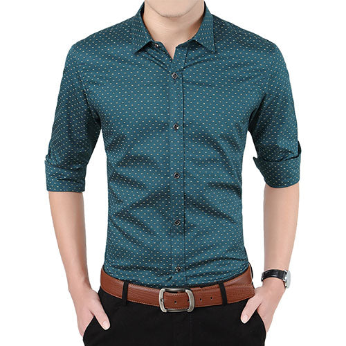 Polka Dot Men's Shirt Slim Fit Long Sleeve Casual Shirt Army Green