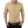Polka Dot Men's Shirt Slim Fit Long Sleeve Casual Shirt Khaki