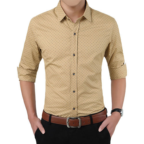 Men's Simple Polka Dot Shirt - HEATHLEAF