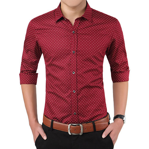 Polka Dot Men's Shirt Slim Fit Long Sleeve Casual Shirt Red
