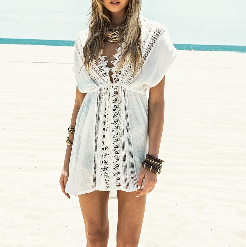 White Lace Beach Summer Swimsuit Cover Up - HEATHLEAF