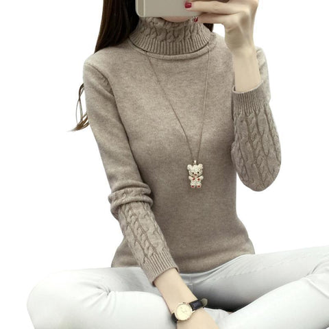 Winter Knitted Turtleneck Sweater Long Sleeve Pullover Khaki