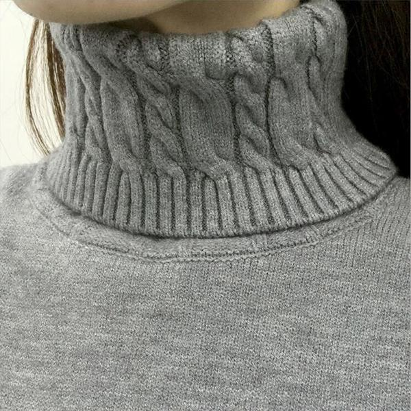 Knitted Pattern Winter Turtleneck Sweater - HEATHLEAF