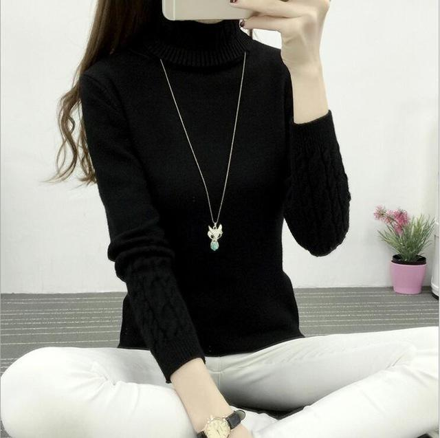 Winter Knitted Turtleneck Sweater Long Sleeve Pullover Black