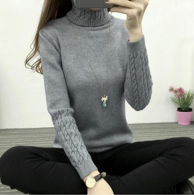 Winter Knitted Turtleneck Sweater Long Sleeve Pullover Gray