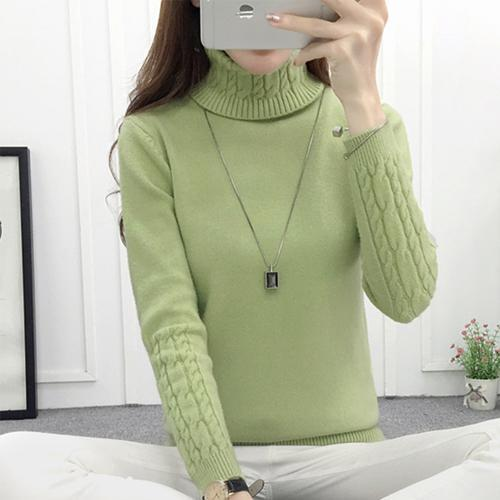 Winter Knitted Turtleneck Sweater Long Sleeve Pullover Green