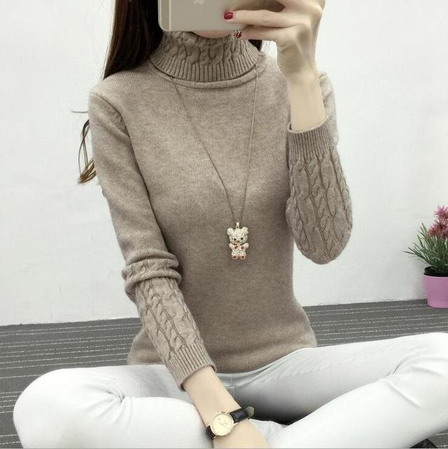 Winter Knitted Turtleneck Sweater Long Sleeve Pullover Khaki 2