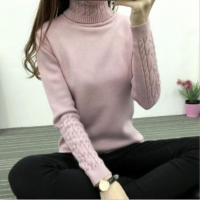Winter Knitted Turtleneck Sweater Long Sleeve Pullover Pink