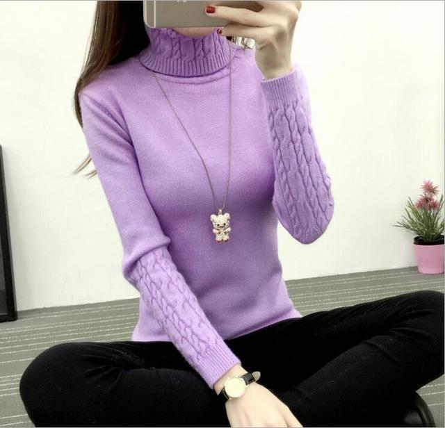 Winter Knitted Turtleneck Sweater Long Sleeve Pullover Purple