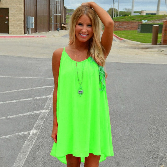 Neon Spaghetti Strap Summer Dress - HEATHLEAF