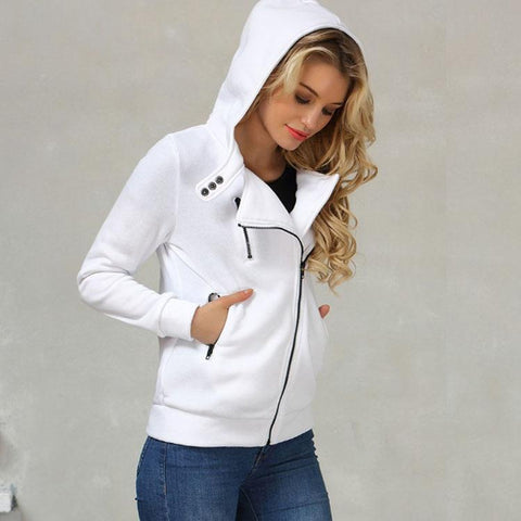 Womens Winter 2018 Casual Fashion Hoodie Zipper Jacket