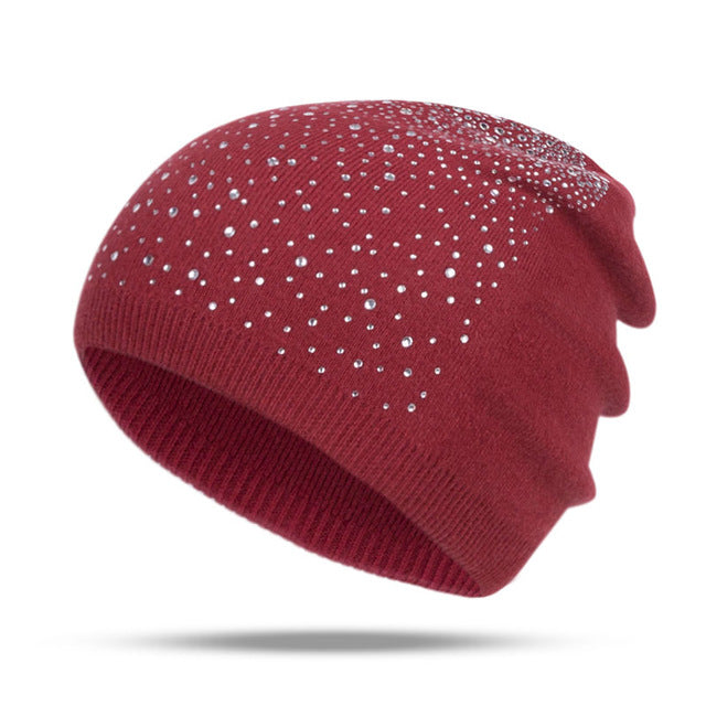 Fashion Rhinestone Beanie Women's Winter 2018 Dark Red