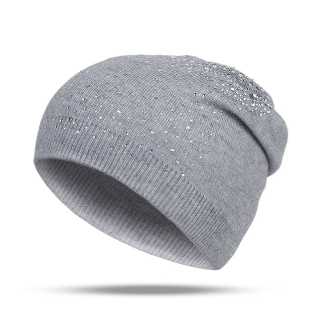 Fashion Rhinestone Beanie Women's Winter 2018 Gray