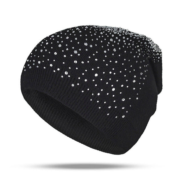 Fashion Rhinestone Beanie Women's Winter 2018 Black