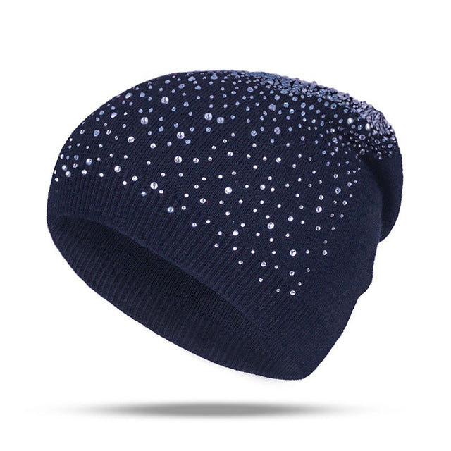 Fashion Rhinestone Beanie Women's Winter 2018 Navy Blue