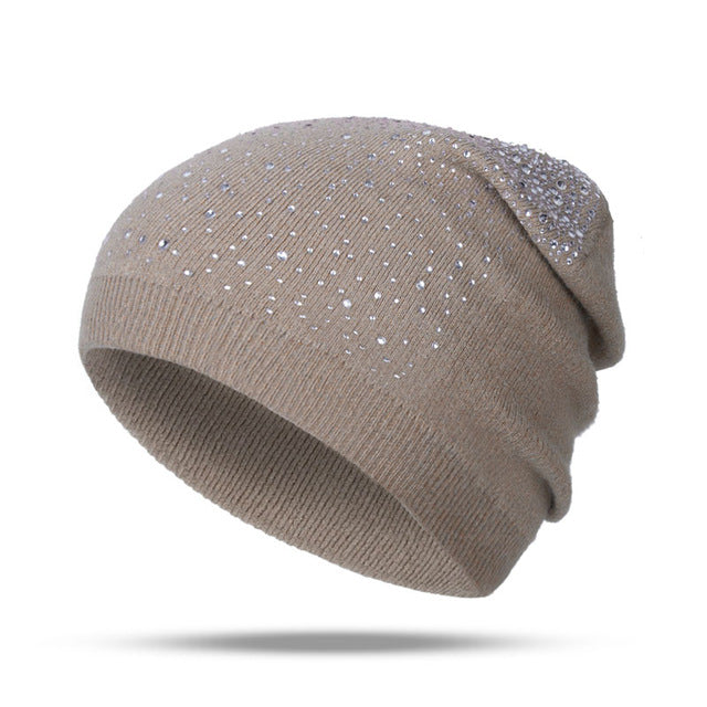 Fashion Rhinestone Beanie Women's Winter 2018 Khaki