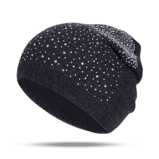 Fashion Rhinestone Beanie Women's Winter 2018 Dark Gray