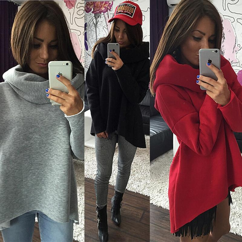 Winter Scarf Collar Fashion Hoodie Womens Pullover