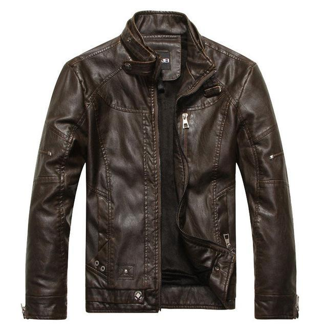 Brand New 2018 Men's Motorcycle Leather Jacket Brown
