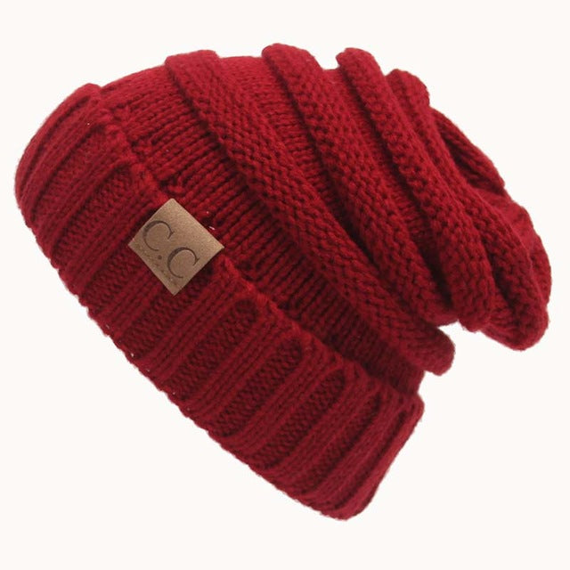 Quality Fashion Beanie Women's Warm Winter Knitted Wool Beanie Dark Red