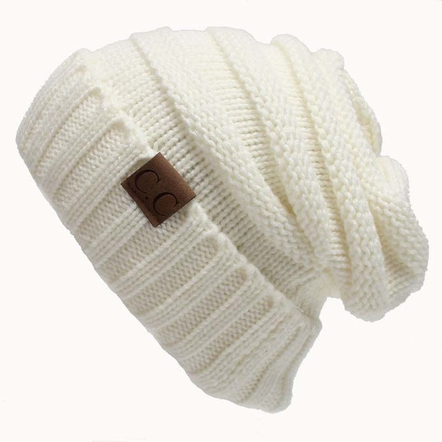 Quality Fashion Beanie Women's Warm Winter Knitted Wool Beanie White