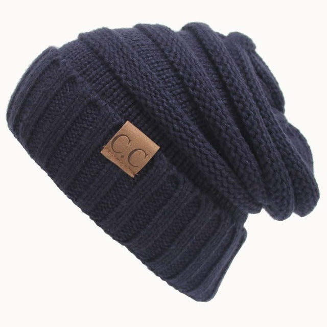 Quality Fashion Beanie Women's Warm Winter Knitted Wool Beanie Navy Blue