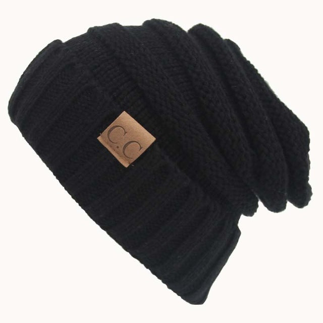 Quality Fashion Beanie Women's Warm Winter Knitted Wool Beanie Black