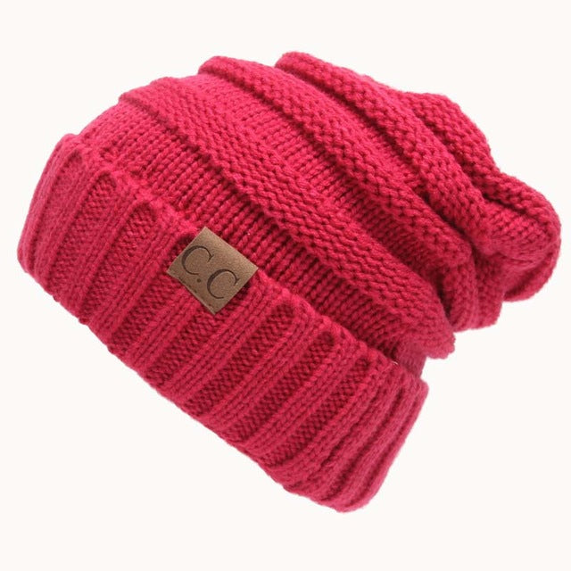 Quality Fashion Beanie Women's Warm Winter Knitted Wool Beanie Rose Red