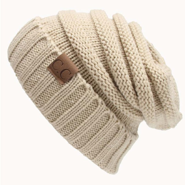 Quality Fashion Beanie Women's Warm Winter Knitted Wool Beanie Beige