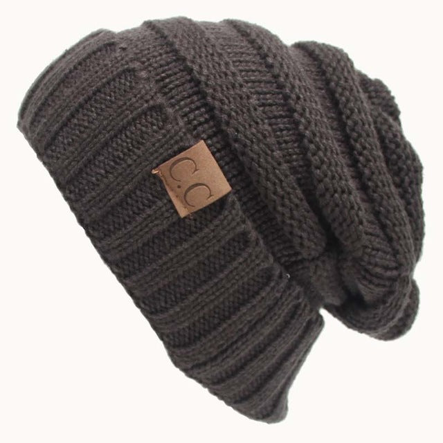 Quality Fashion Beanie Women's Warm Winter Knitted Wool Beanie Dark Gray