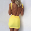 2018 Sexy Backless Dresses Spring and Summer Bodycon Dress Yellow