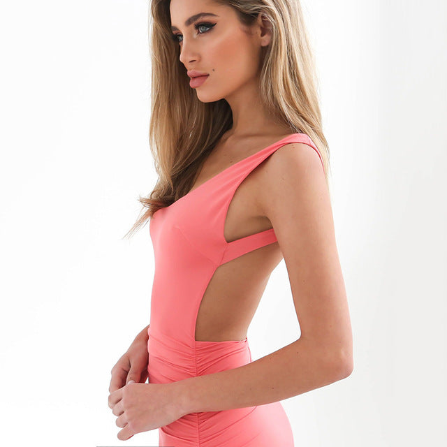 2018 Sexy Backless Dresses Spring and Summer Bodycon Dress Pink