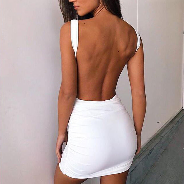 2018 Sexy Backless Dresses Spring and Summer Bodycon Dress White