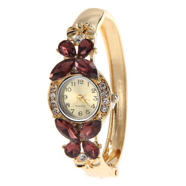 Women's Gold Bangle Crystal Butterfly Bracelet Watch Burgundy