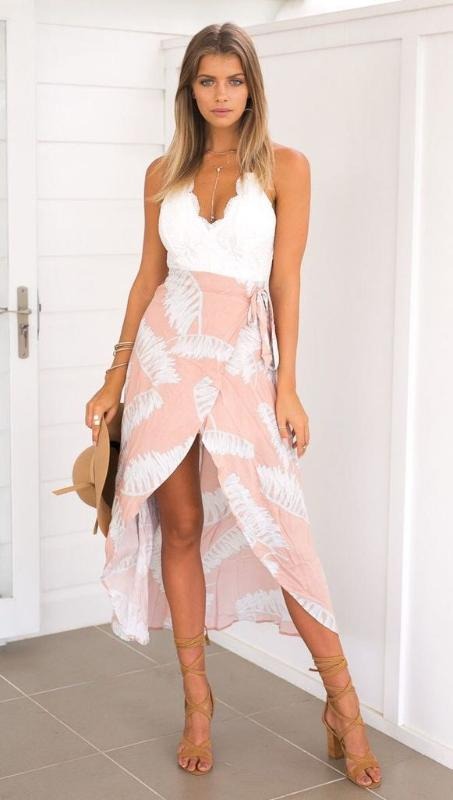 Long Lace Floral Beach Dress